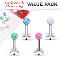 We want to start this week with another Value Pack 4 Pcs Internally Threaded 316L Surgical Steel Labret/Monroe with Opal Ball Top #Hollywood #BidyJewelry #Piercing #Jewelry