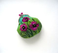 Wet Felted magenta  Poppies FLOWER coin purse Ready to Ship with bag frame metal closure gift for her. via Etsy.