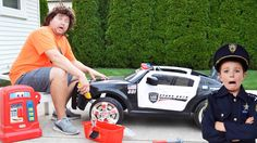 The broken police car, the chase and the Sketchy Mechanic epic silly kids video - YouTube