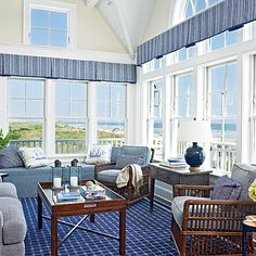 A blue and white room with a view by designer T. Keller Donovan.