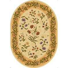 Mohawk Home�Summer Flowers Beige Oval Cream Floral Tufted Area Rug (Common: 5-ft x 7-ft; Actual: 5.41-ft x 7.66-ft)