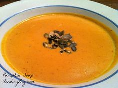 Pumpkin Soup with Feeding Big.  This soup will warm you and your family on a cold day.  It is quick, easy and frugal!  What more could you ask for?