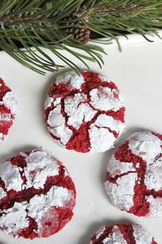 Red Velvet Gooey Butter Cookies @RecipeGirl and @deborahharroun