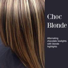 Alternating chocolate lowlights blonde highlights