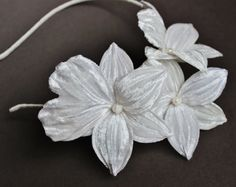 Pearl wedding headband, fabric orchid, bridal headdress, bridal fascinator