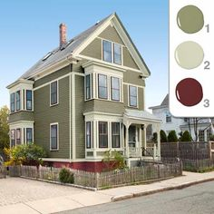 Exterior color scheme: gray green - cream trim - maroon highlights