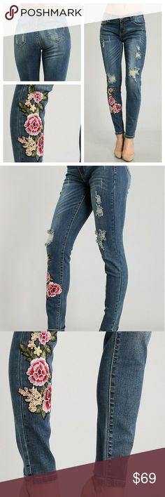 Distressed Flower Patch Jeans  COMING SOON Trendy and adorable red, green, yellow & pink floral embroidered patch skinny distressed jeans.    High quality, some stretch, low rise jeans.   80% Cotton 17% Polyester 3% Spandex  COMING SOON LIKE OR COMMENT FOR NOTIFICATIONS. boutique Jeans Skinny