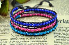 Leather Wrap Bead Bracelet Blue Pink  Bead by BeautifulShow, $20.99