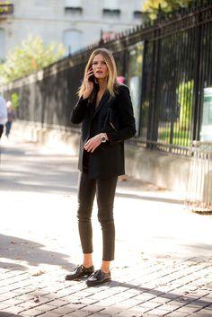 Pinstripe blazer. Chic and minimal