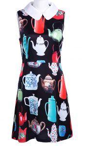 Black Peter Pan Collar Sleeveless Teapot Print Silk Dress  $50.8