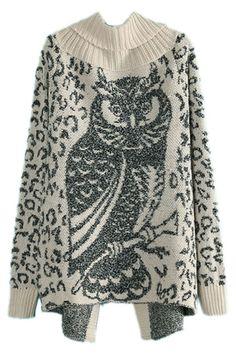 ROMWE | Asymmetric Leopard Owl Pattern Green Cardigan #fashion #streetstyle