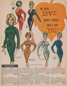 He Will Love What Jersey Does For You/Page 02 of the Fall #1964 #FredericksofHollywood catalog.