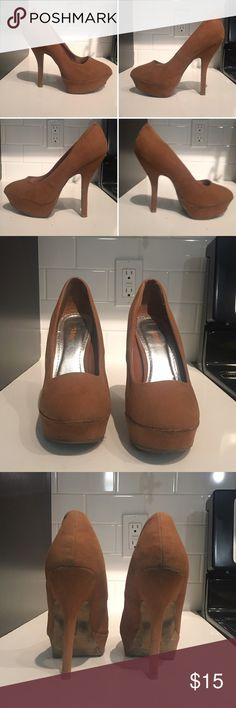 "Tan platform shoes Tan suede platform pumps. Previously loved but in excellent condition. 5.5"" heel and 1.25"" platform. Accepting reasonable offers 😊 Bamboo Shoes Platforms"