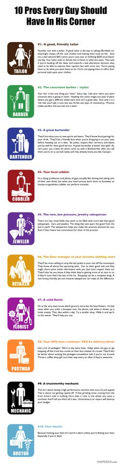 10 Pros Every Guy Should Have In His Corner by Dappered.com