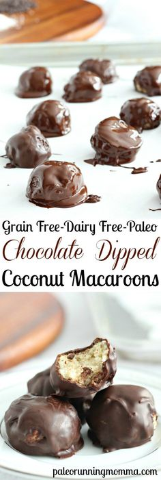 Easy Chocolate Dipped Coconut Macaroons that are grain free, dairy free, paleo, and so insanely delicious you'll never believe they're healthy!