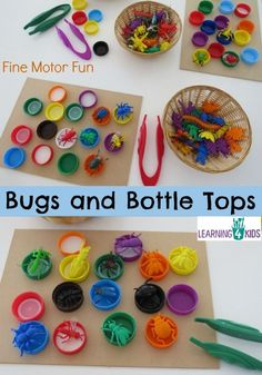 Bugs and Bottle Tops - simple, fun fine motor activity for kids. Make sure we have the right sized bottle tops and bugs! Fine Motor Activities For Kids, Motor Skills Activities, Fine Motor Skills, Preschool Activities, Colour Activities, Physical Activities, Cognitive Development Activities, Recycling Activities For Kids, Preschool Bug Theme