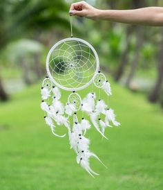 Dream Catcher Large White color 5 ring Circles Wall Hanging