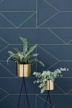 (Follow the) Lines Wallpaper - Dark Blue #designcurious