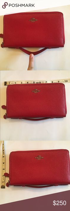 """NWT Coach double zip Tavel wallet NWT Authentic Coach large """"travel wallet"""". Very handy as both a wallet or evening bag because of its subtle hand strap. Plenty of room inside, I can fit my phone in there + money, cards, lipgloss. Place for a pen, check book, small planner, and coins. Color is """"true red"""". Never used! 🥂 Coach Bags Wallets"""
