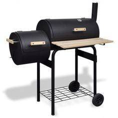 Classic Charcoal BBQ Offset Smoker Patio Cooker Food Spring Steel Wood Black #unbranded
