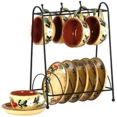 New Cup & Saucer Set 13pc Espresso Lynns French Country Kitchen Coffee Tea Set