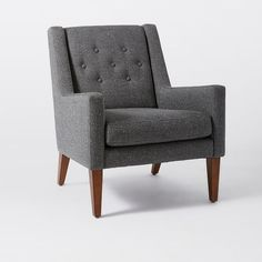 Sat in this, cute & pretty comfy, needs foot stool. Library Upholstered Chair | west elm