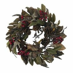 24 Inch Pinecone Berry and Feather Wreath