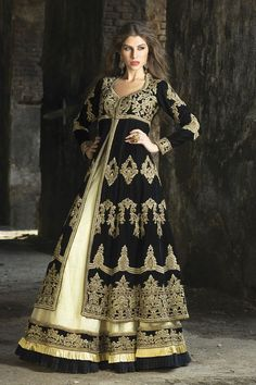 Black and gold lengha from the 2013 BenzerWorld collection: