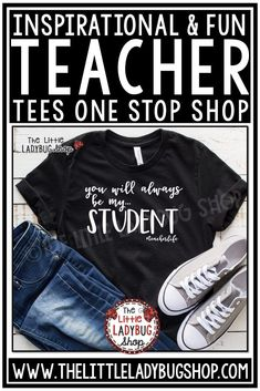Fun & Inspirational Teacher Shirts for every occasion. School Spirit Tees, Teacher Team T-Shirt, Teacher Shirt for end of year, back to school, christmas, and more! #teachertees #teachershirt #teachertshirt