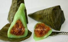 Glutinous Rice Cake with Coconut Filling. Glutinous describes the nature of the…