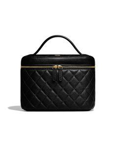 Vanity pouch, calfskin & gold metal-black - CHANEL