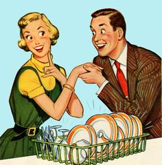 1950s Happy Housewife vintage illustration.  Sparkling clean dishes make everybody happy!