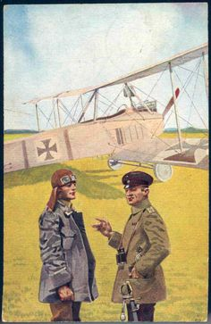 German Empire Picture Postcards - Airmen in the field, coloured lithographed postcard 1917, real used, fieldpost