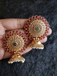 Earnings New style mahroon and golden color earrings Jewelry Earrings Gold Jhumka Earrings, Indian Jewelry Earrings, Jewelry Design Earrings, Gold Earrings Designs, Gold Jewellery Design, Jhumka Designs, Jewelery, Antique Earrings, Necklace Designs