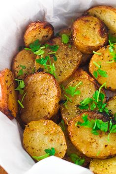 Greek Lemon Potatoes. A fun twist on traditional roasted potatoes. All clean eating ingredients are used for this potato recipe. Pin now to try later!