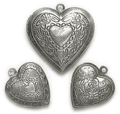 Blue Moon Lost & Found Metal Charms, Heart Lockets Antique Silver, 3/Pkg:Amazon:Arts, Crafts & Sewing