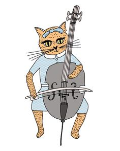 Cat playing the Cello