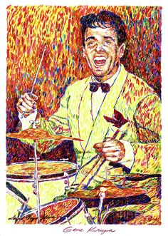 "David Lloyd Glover, ""Gene Krupa the Drummer"" - Many of Hollywood's A-list celebrities and recording stars are among his top collectors. For his many galleries, Glover has created images ranging from Impressionist landscapes to Iconic pop art images of Jazz artists and Rock stars.  David Lloyd Glover has a 25-year international reputation exhibiting in major galleries in the US, Canada, Mexico, and Japan. Since 1986 he has sold over 2,000 original paintings."
