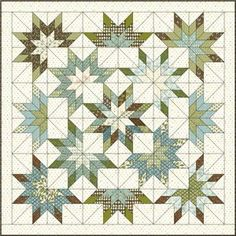 lone starburst quilt pattern | Lone-Starburst-with-fabrics: