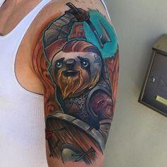 Ragnar Slothbrok by @eddiestacey at @inkanddaggertattoo in Roswell Georgia. #sloth #ragnarlothbrok #viking #eddiestacey #inkanddagger #inkanddaggertattoo #roswell #georgia #tattoo #tattoos #tattoosnob