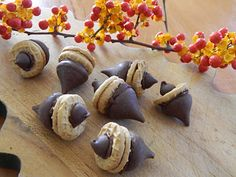 Acorn Cookies made with Hershey's kisses and Nutter Butter bites