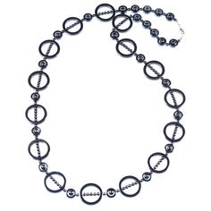 HEMATITE STATEMENT HOOP NECKLACE    Hematite and sterling silver necklace.    This statement necklace will work well with any colour garment.   ...  Colour: Black/Grey    Size: 88cm    £60.00    http://www.gemjewelleryshop.com/product-information/36/392/hematite-statement-hoop-necklace/See More
