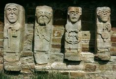 Figures carved on the remains of a twelfth century church in Co. Fermanagh.