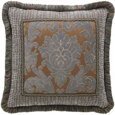 Legacy By Friendly Hearts Bella Damask Pillow (€135) ❤ liked on Polyvore featuring home, home decor, throw pillows, damask throw pillows, damask home decor and fringed throw pillows