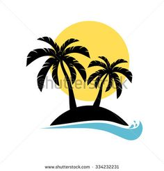 Palm trees silhouette on island. Vector