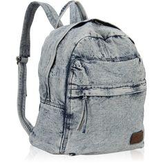 Hynes Eagle Cool Denim Jeans Backpack School Rucksack 20 Liter (30 AUD) ❤ liked on Polyvore featuring bags, backpacks, bolsas, mochilas, day pack backpack, eagles backpack, light blue backpack, knapsack bag and light blue bag