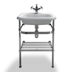 Basin and stand for bathroom. Clearwater - Small Traditional Roll Top Basin with Stainless Steel Stand - W550 x D470mm -