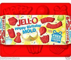 JELL-O Jiggler Red Happy Birthday Mold - Free Birthday Crown Inside - Fun Treats