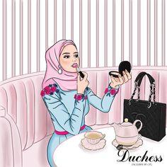 Fashion Design Drawings, Fashion Sketches, Girly M, Fashion Illustration Dresses, Anime Muslim, Hijab Cartoon, Muslim Girls, Mode Hijab, Girl Wallpaper