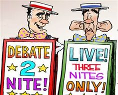 Political Cartoons| NBC News  --- This political cartoon was made to emphasize how the presidential debate was less of a serious debate and more of a show... if you've watched the debates you'd probably specify show down to circus, it was a zoo.
